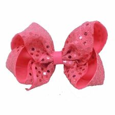 5inch Sequins Boutique Bow Girls' Hair Clip(Bubble Gum Pink)
