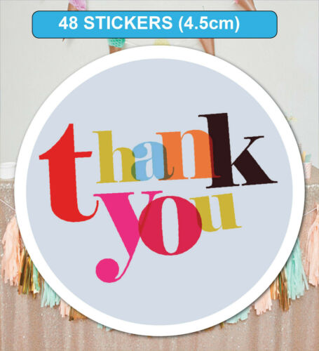 48 Thank you Stickers Labels for Birthday Wedding Party Bag Seals GLOSSY MATT
