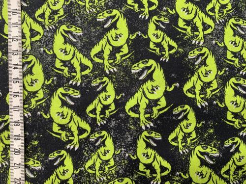 T-REX Steinbeck Dinos Baumwollstoff neongrün auf schwarz