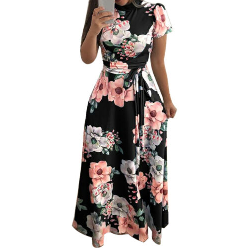 Fashion Womens O-Neck Floral Printed Short Sleeve Bandage Long Dress With Belt