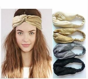 Sparkle elastic twist knot headband gold silver black ladies stretch ... f79713f95b8