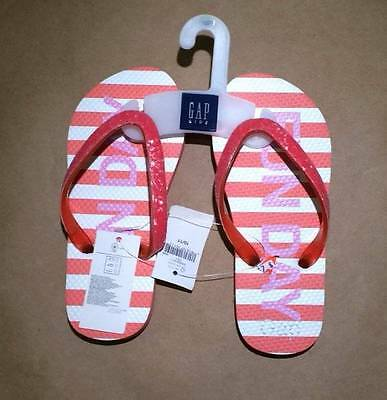 NWT GapKids Gap Pink Striped Sunday Funday Flip Flops Size 10-11 /& 2