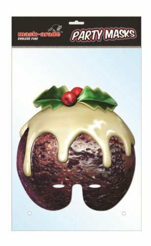 Christmas Pudding Character Face Card Mask Xmas Impersonation//Fancy Dress