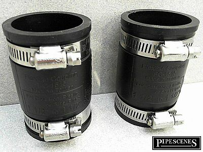 """40mm or 1 1//2/"""" Fernco Type Flex Seal Rubber Coupler with Jubilee Clips Universal"""