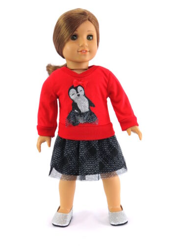 Penguin Dress Red /& Black Doll Clothes For 18 Inch  American Girl