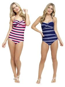 8d8d7402cd4 Image is loading Womens-Striped-Swimming-Costume-Multi-Way -Bandeau-Halterneck-