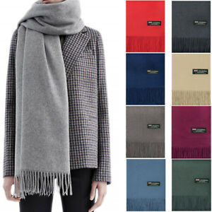 Mens-Womens-Oversized-Blanket-100-Cashmere-Scarf-Shawl-Wrap-Solid-Scotland-Wool