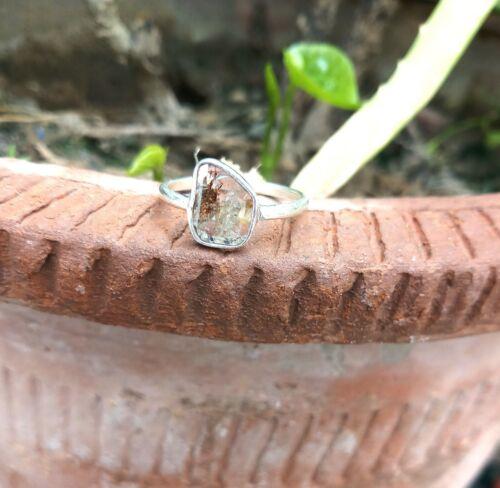 925 Sterling Silver Natural Rose Cut Diamond Ring Polki Diamond Jewelry