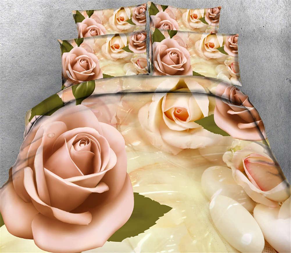Extraordinary Rose 3D impression couette courtepointe volonté des couvertures PilFaible cas literie ensembles