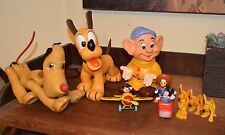 10 VTG Disney Toys 2 Mickey,6 Pluto,Donald, Dopey & Pluto Bath Squeaky & Puppet