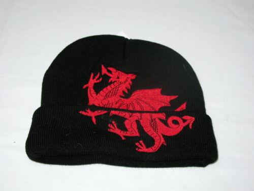 Wales Black WELSH DRAGON design BEANIE// SKI HAT Cymru