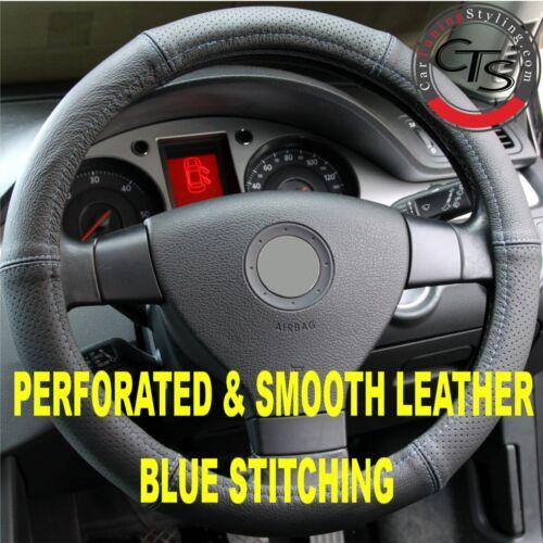 FIAT 500 environ 500l BRAVO PUNTO GRANDE volant couverture de cuir compacts bleu stitch