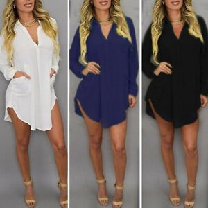 Mode-Femme-Sexy-Col-V-Loisir-Boutons-Manche-longue-Tops-Shirt-Robe-Mini-Plus