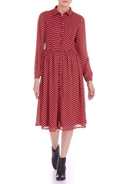 Sugarhill Boutique Autumn Classic Evette Midi Dress rot & Ivory Dot Prints SH024