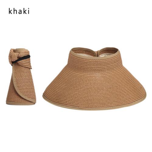 Women Summer Sun Visor Straw Hat Beach Folding Wide up Roll Cap Outdoor