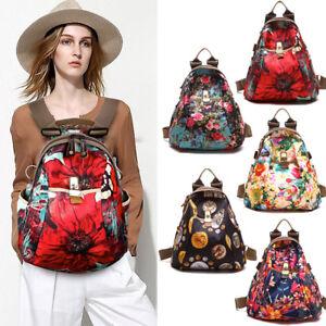 Convertible-Floral-Nylon-Backpack-Rucksack-Purse-Shoulder-Bag-Travel-2-sizes