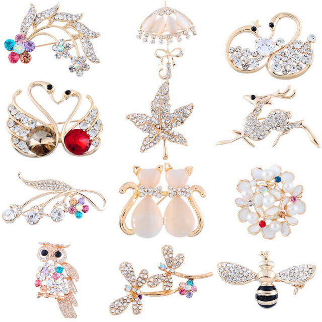 FASHION WOMEN LADIES BROOCHES PIN BROACH CRYSTAL STYLE WEDDING PARTY XMAS