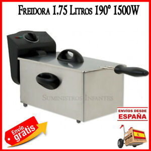 Fritteuse-Elektrisch-2-Liter-1500w-Edelstahl-Bratpfanne-Kueche-Filter-Futter-2L