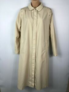 WOMENS-BHS-CREAM-BUTTON-UP-CASUAL-MAXI-MAC-COAT-JACKET-WITH-BELT-SIZE-UK-12