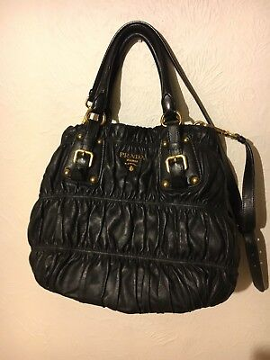 Sac à main PRADA cuir noir Nappa Gaufre avec portefeuille assorti | eBay