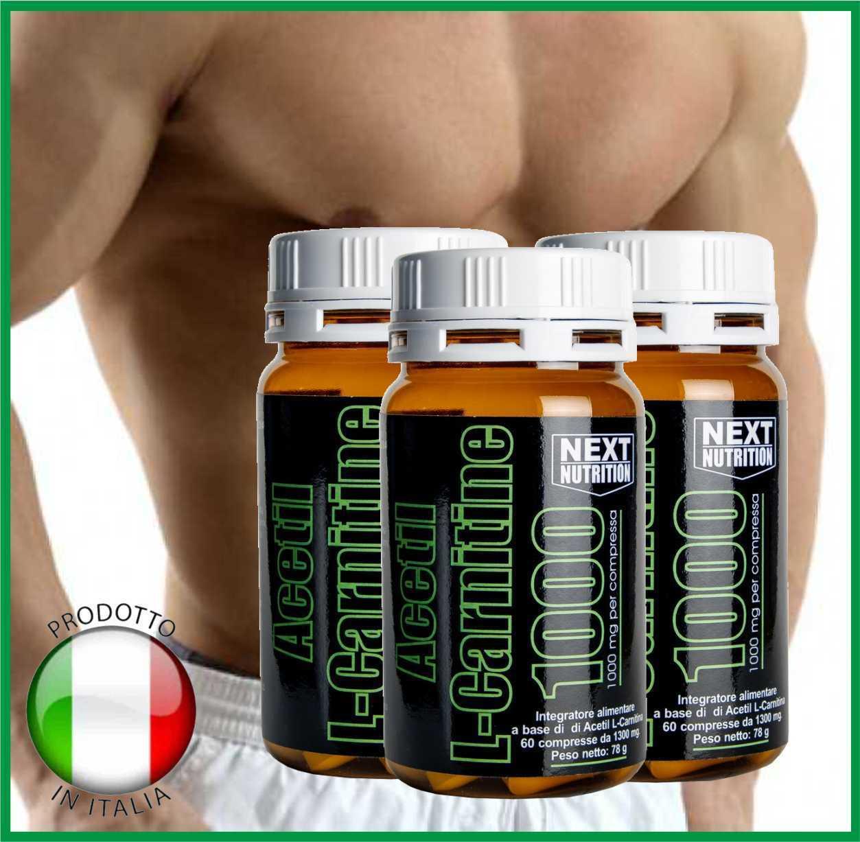 Acetil Carnitina L- Carnitina Acetil 1000mg Dimagrante Bruciagrassi Brucia grassi  3 box da 60cpr a06f25