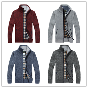 Knitted Cardigan Jumper Top Mens Winter Funnel Collar Zip Up Thick Fleece Lined