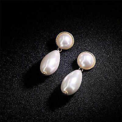 Boucles d/'oreilles Dormeuse Doré Art Deco Perle Blanc Pavé Floral Ciselé DD13