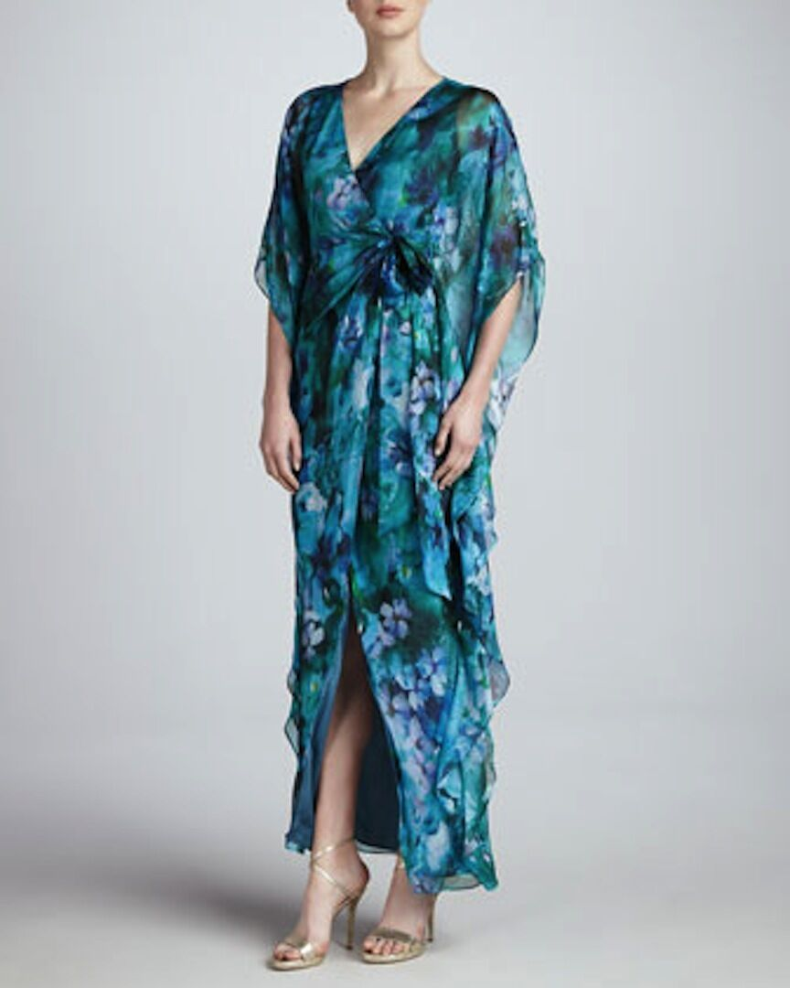 NEW Badgley Mischka SILK floral blue green pageant LONG cocktail caftan dress M