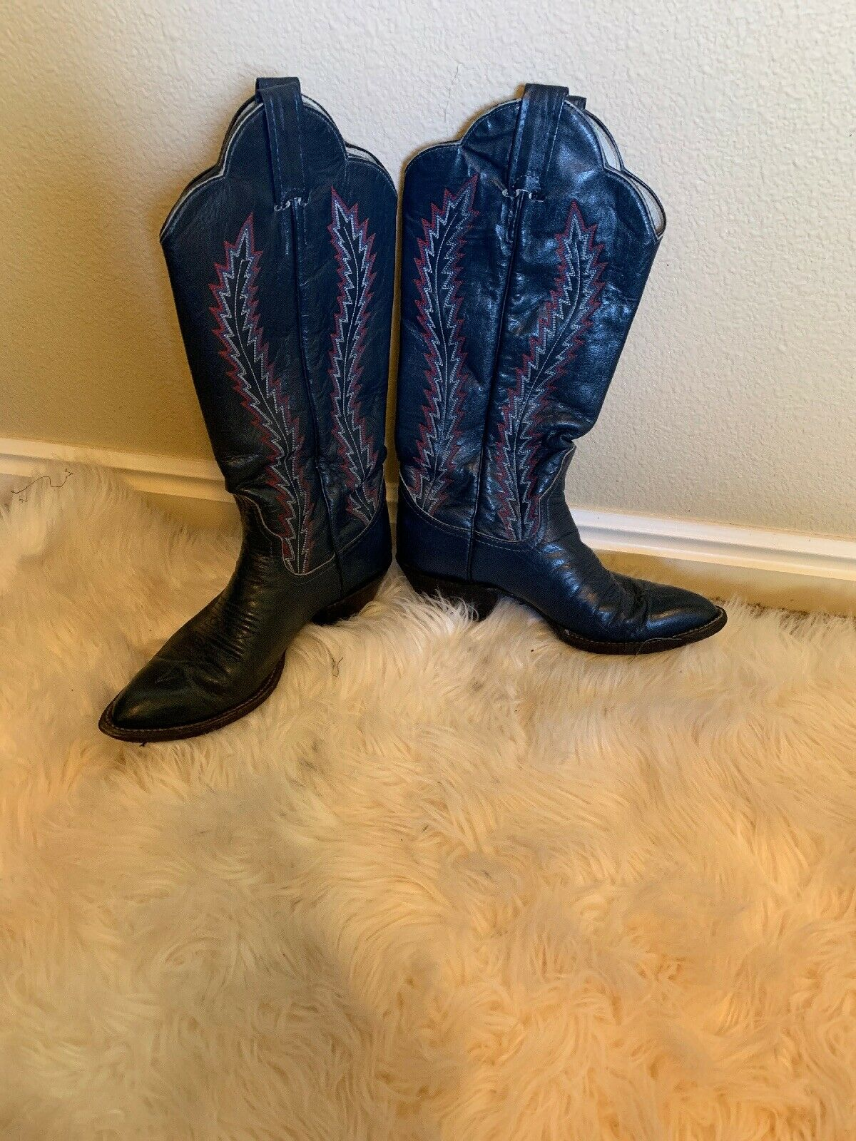 VINTAGE LARRY Mahan blueE LEATHER  WESTERN COWBOY BOOTS WOMENS 7.5 A