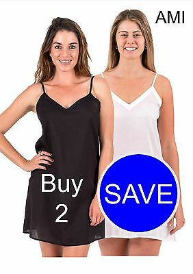 New Cotton Dress Slip Combination- Ami Two Pack, Choose from Black. White, Crema