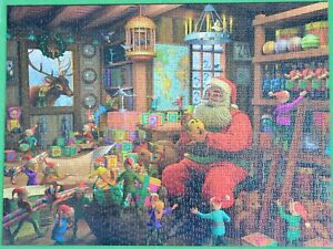 SANTA'S WORKSHOP Waddington's 2014 LTD EDT Natale 1000 Pezzi Puzzle COMPLET