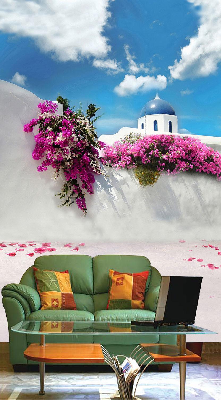 3D Santorin Himmel Blaumen 96 Tapete Wandgemälde Tapete Tapeten Bild Familie DE