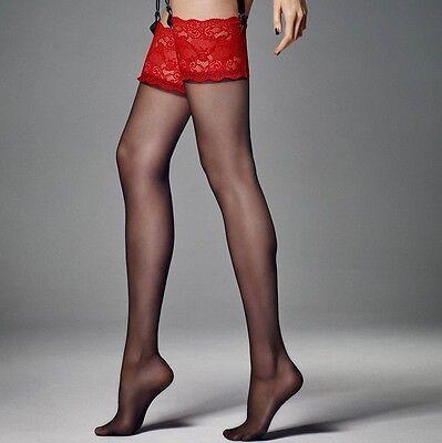 Veneziana Women Esmeralda Contrast Lace Top Stockings