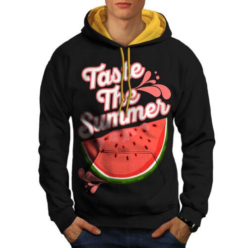 Watermelon Casual Jumper Wellcoda Taste Fresh Summer Mens Contrast Hoodie