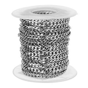 1-Roll-10yd-Stainless-Steel-Curb-Chain-DIY-Necklace-Bracelet-Making-Crafts
