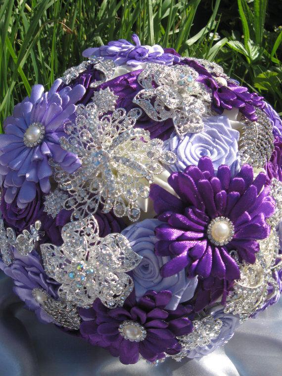 Et violet et violets Broche Bouquet, mariage, mariée, fleurs