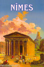 Nimes Languedoc-Roussillon France French Vintage Travel Advertisement Poster