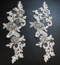 2x Gold Floral Motif Sequins Applique Sewing Craft Venise Lace Trim Buy4Get1Free