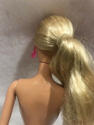 Beach Barbie Doll Pony Tail Pink Round Drop Earrings