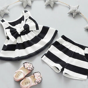 204234613 Newborn Toddler Baby Kids Girl Bowtie Tank Top Dress+Shorts Pants ...
