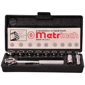 ORIGINAL-METRINCH-USA-12-PC-3-8-DRIVE-12pt-SOCKET-RATCHET-SET-METRIC-HEAVY-DUTY