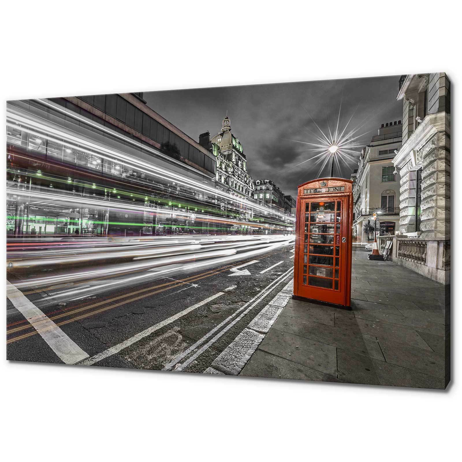 LONDON rot StiefelH MOVING LIGHTS CANVAS PRINT PICTURE WALL ART FREE FAST DELIVERY