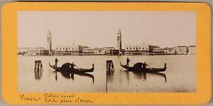 Gondoliers-Venezia-Italia-Foto-Stereo-PL55L2n-Vintage-Albumina-c1865