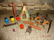 Playmobil Lot Indian Camp Cowboy Horse Teepee Fence Totem Canoe +