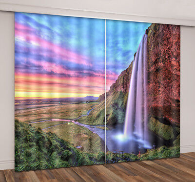 3D 2 Panels Blockout Drapes Fabric Photo Printing Window Curtain Mural Waterfall