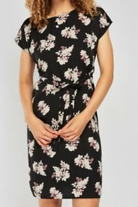 Ladies-Black-Floral-Printed-Shift-Dress-with-Tie-Sizes-8-10-12-14-16-18-20-NEW