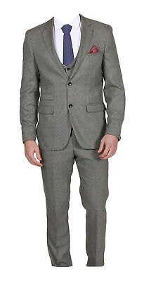 Marc Darcy Mens Dressy Checked Trousers James Grey