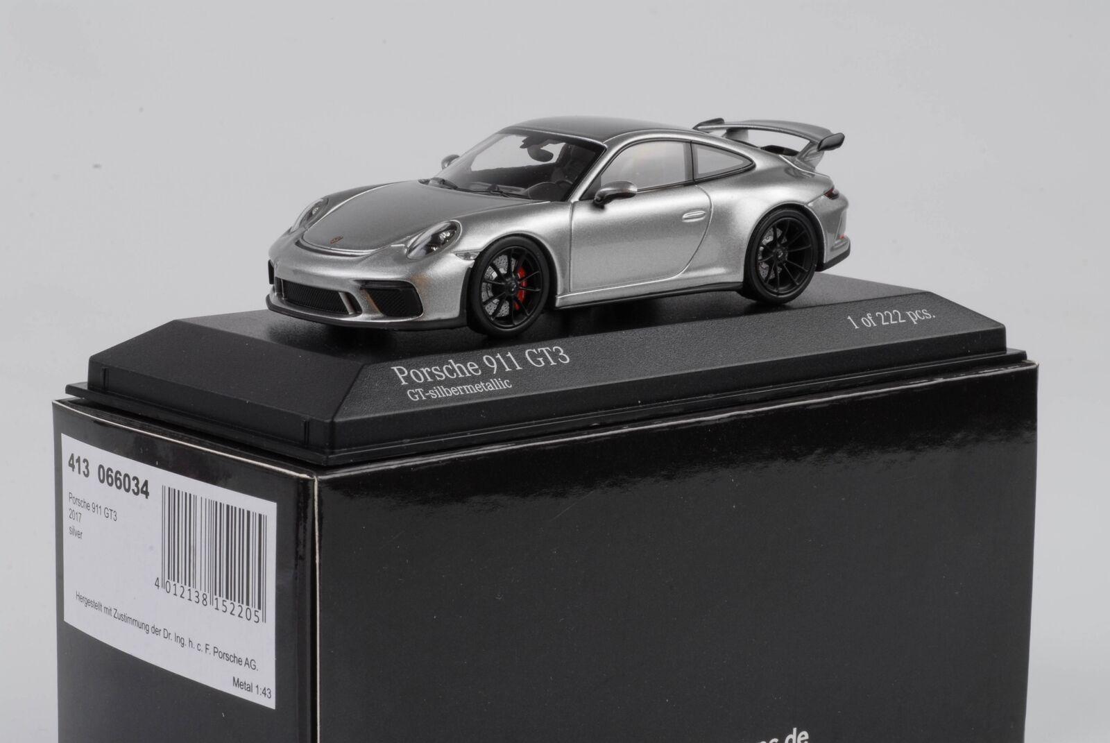 Porsche 911 991 Gt3 2017 Gt-argentometallic nero Llantas grigio 1 43 Minichamps
