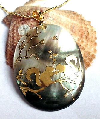 NEW 35x45mm beautiful abalone shell pendant and Squirrel AAA FG-0176