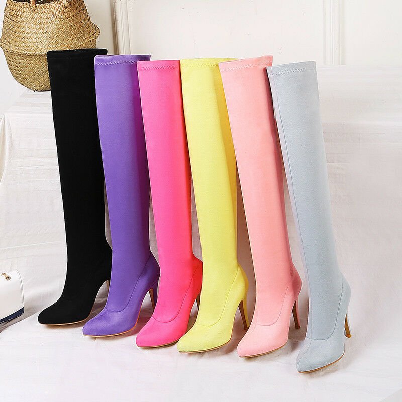 Women's Candy color Faux Suede Elastic Over Knee Boots High Heel Plus Size shoes